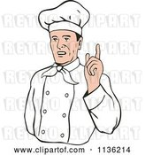 Vector Clip Art of Retro Chef Holding up a Finger by Patrimonio