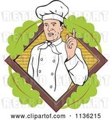 Vector Clip Art of Retro Chef Holding up a Finger over a Leafy Diamond by Patrimonio