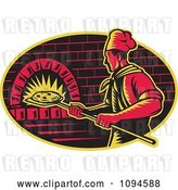 Vector Clip Art of Retro Chef Inserting Pizza into a Brick Oven by Patrimonio