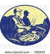 Vector Clip Art of Retro Chef Making Mexican Food in a Blue and Yellow Oval by Patrimonio