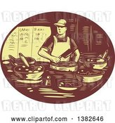 Vector Clip Art of Retro Chef Making Tacos in a Brown and Yellow Oval by Patrimonio