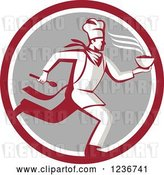 Vector Clip Art of Retro Chef Running with Hot Soup on a Gray and Red Circle by Patrimonio