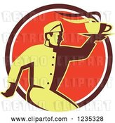 Vector Clip Art of Retro Chef Running with Hot Soup on a Red Circle by Patrimonio