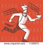Vector Clip Art of Retro Chef Running with Hot Soup over Orange Red by Patrimonio