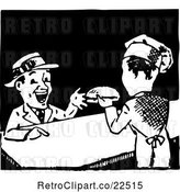 Vector Clip Art of Retro Chef Serving a Hamburger by BestVector