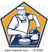 Vector Clip Art of Retro Chef Slicing a Ham in an Orange Pentagon by Patrimonio