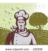 Vector Clip Art of Retro Chef Standing Against Green Farm Land by Patrimonio