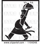 Vector Clip Art of Retro Chef Walking and Holding a Platter Above His Head with Black Borders by Patrimonio