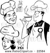 Vector Clip Art of Retro Chefs by BestVector