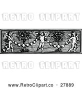 Vector Clip Art of Retro Cherub and Garland Border by Prawny Vintage
