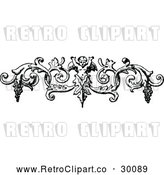 Vector Clip Art of Retro Cherub and Grapes Swirl Border by Prawny Vintage