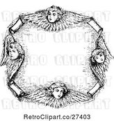 Vector Clip Art of Retro Cherub Frame by Prawny Vintage
