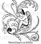 Vector Clip Art of Retro Cherub Playing a Flute on a Flourish with a Bird by Prawny Vintage