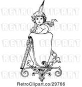 Vector Clip Art of Retro Cherub with a Pencil and Sign by Prawny Vintage