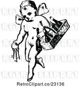 Vector Clip Art of Retro Cherub with Keys and a Wine Basket by Prawny Vintage