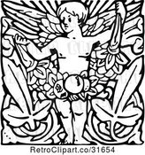 Vector Clip Art of Retro Cherub with Leaves by Prawny Vintage