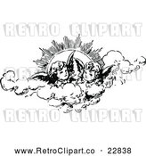 Vector Clip Art of Retro Cherubs in the Clouds Against the Sun by Prawny Vintage