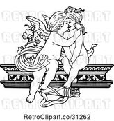 Vector Clip Art of Retro Cherubs Kissing on a Shelf by Prawny Vintage
