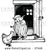 Vector Clip Art of Retro Chicken and Pig Talking by Prawny Vintage