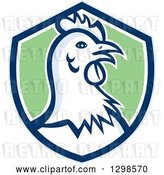 Vector Clip Art of Retro Chicken Hen Head in a Blue White and Green Shield by Patrimonio