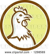 Vector Clip Art of Retro Chicken Hen Head in a Brown White and Yellow Circle by Patrimonio