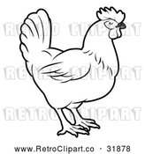 Vector Clip Art of Retro Chicken in Profile by AtStockIllustration