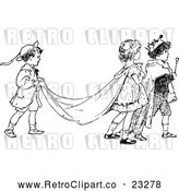 Vector Clip Art of Retro Children Acting out a Royal Wedding by Prawny Vintage