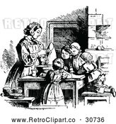 May 9th, 2018: Vector Clip Art of Retro Children Baking with Their Mom by Prawny Vintage