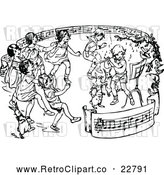 Vector Clip Art of Retro Children Dancing in a Ring of Sheet Music by Prawny Vintage