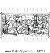 Vector Clip Art of Retro Children Dancing Outside by Prawny Vintage