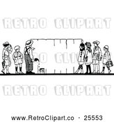 Vector Clip Art of Retro Children Painting a Fence by Prawny Vintage