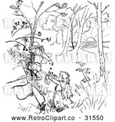 Vector Clip Art of Retro Children Picking Berries from a Tree by Prawny Vintage