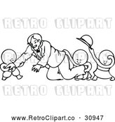 Vector Clip Art of Retro Children Playing Around with a Smiling Man by Prawny Vintage