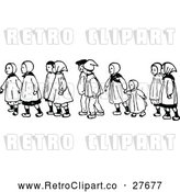 Vector Clip Art of Retro Children Walking 2 by Prawny Vintage