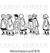 Vector Clip Art of Retro Children Walking by Prawny Vintage