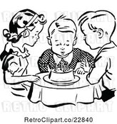 Vector Clip Art of Retro Children Watching a Boy Blow out His Birthday Cake Candles by Prawny Vintage