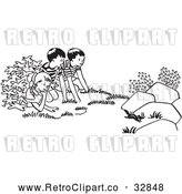 Vector Clip Art of Retro Children Watching a Chipmunk by Picsburg