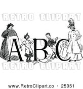 March 21st, 2018: Vector Clip Art of Retro Children Women and Abc by Prawny Vintage
