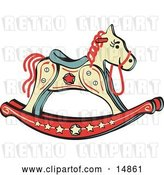 Vector Clip Art of Retro Child's Rocking Horse with Star Decorations by Andy Nortnik