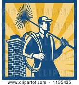 Vector Clip Art of Retro Chimney Sweep Worker over Rays by Patrimonio