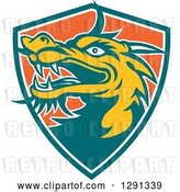 Vector Clip Art of Retro Chinese Dragon Head Emerging from a Teal White and Orange Shield by Patrimonio