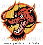Vector Clip Art of Retro Chinese Dragon Head over an Orange Circle of Rays by Patrimonio