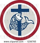 Vector Clip Art of Retro Christian Cross and Fish in a Circle by Patrimonio