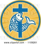 Vector Clip Art of Retro Christian Fish and Cross in a Ray Circle by Patrimonio