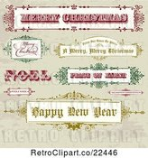 Vector Clip Art of Retro Christmas and New Year Greeting Banners and Signs on Grunge by BestVector