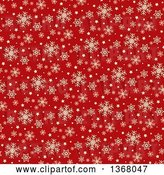 Vector Clip Art of Retro Christmas Background of Beige Snowflakes and Stars on Red by KJ Pargeter