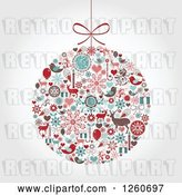 Vector Clip Art of Retro Christmas Bauble of Holiday Items on Shading by OnFocusMedia