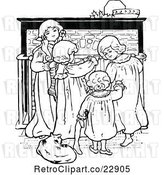 Vector Clip Art of Retro Christmas KChildren by a Fireplace by Prawny Vintage