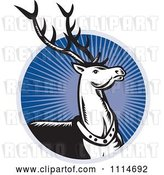Vector Clip Art of Retro Christmas Reindeer over a Blue Ray Circle by Patrimonio