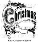 Vector Clip Art of Retro Christmas Sign with Ornate Elements by Prawny Vintage
